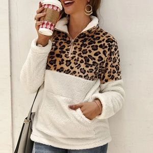 Sweaters - Animal Print Sherpa Pullover